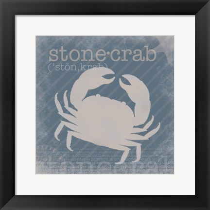 Framed Stone Crab Definition Print