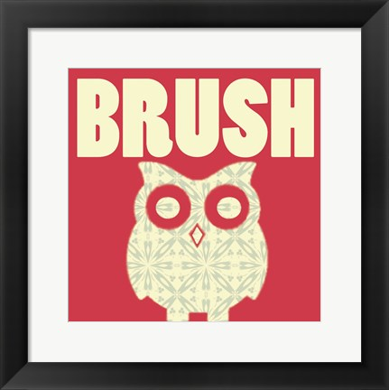 Framed Owl Brush Print