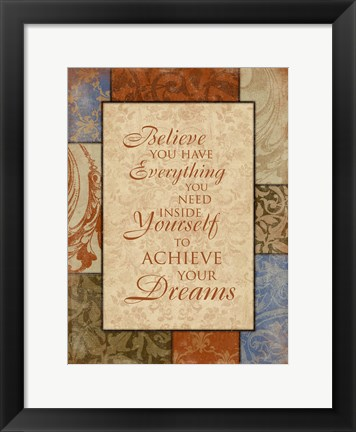 Framed Achieve Your Dreams Print