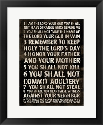 Framed Full 10 Commandments Print