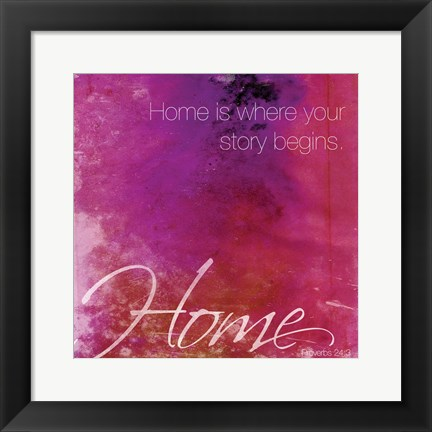 Framed Watercolor Home Quoted Print