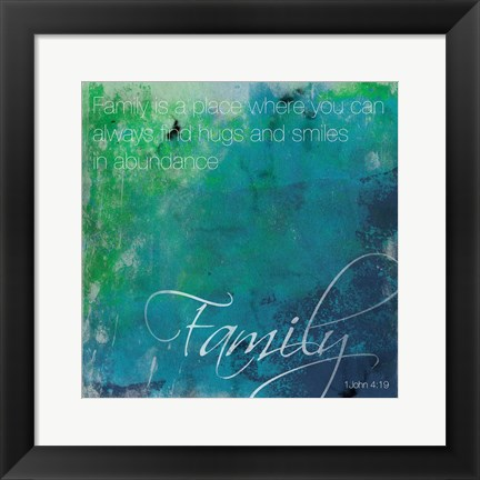 Framed Watercolor Family Quoted Print