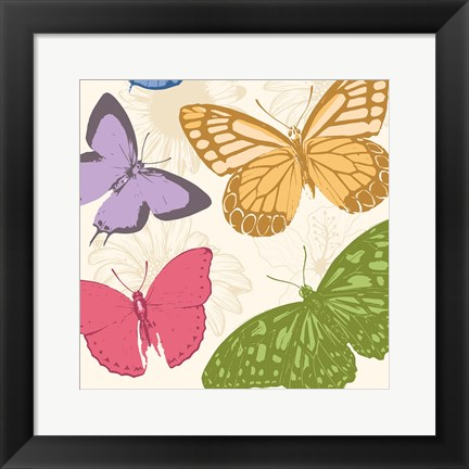 Framed Colorful Butterflies 2 Print