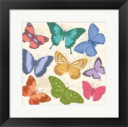 Framed Colorful Butterflies Full Print