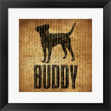 Framed Buddy (brown background) Print