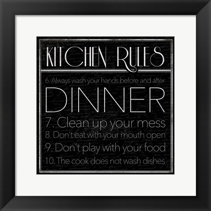 Framed kitchen Rules 2 Print