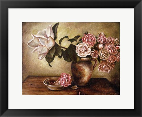 Framed Magnolia with Roses I Print