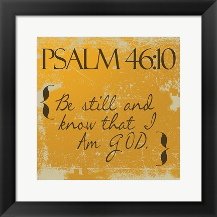 Framed Psalms 46-10 Orange Print