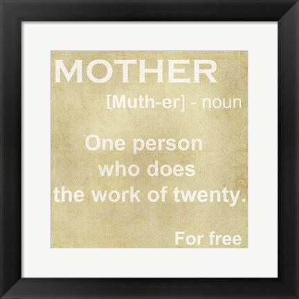 Framed Mother Definition Print