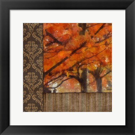 Framed Amber Damask Tree I Print