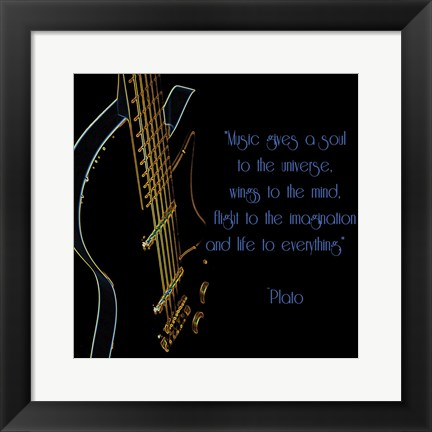 Framed Neon Square Music Quote Print