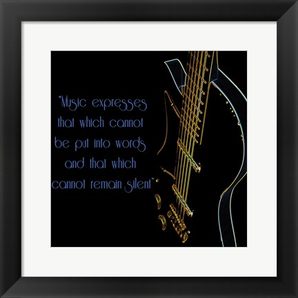 Framed Neon Square Music Quote 2 Print