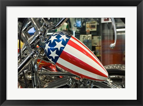 Framed Patriotic Motorcycle with Stars and Stripes Print