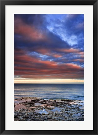 Framed Wisconsin Sunrise on shore of Lake Michigan Print