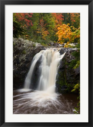 Framed WI, Pattison SP, Little Manitou Falls, Black River Print