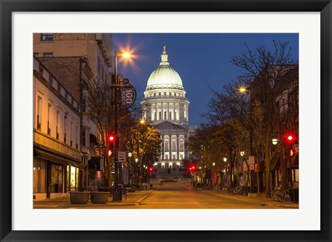 Framed Looking down State Street in downtown Madison, Wisconsin Print