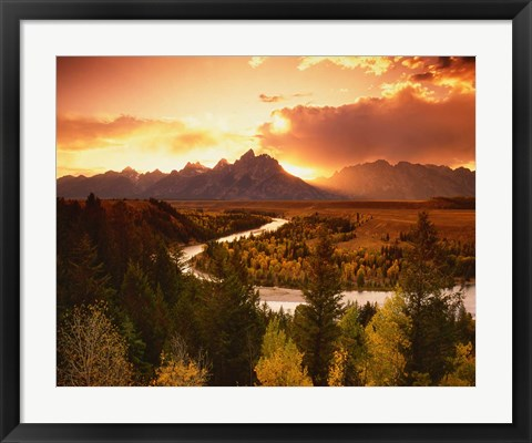 Framed Teton Range at Sunset, Grand Teton National Park, Wyoming Print