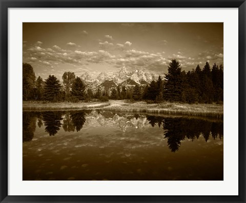 Framed Teton Range and Snake River, Grand Teton National Park, Wyoming (sepia) Print