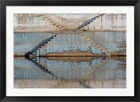 Framed Steps mirrored on small lake, Jodhpur, India Print
