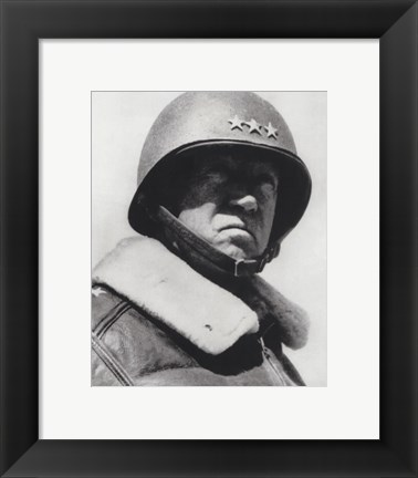 Framed General George Patton in command of the US 7th Army in World War Two Print