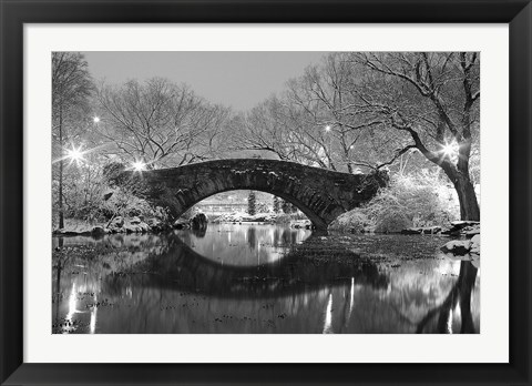 Framed Bridge in Winter Print