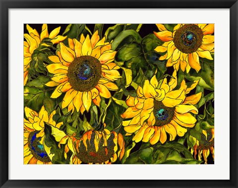 Framed Sunflowers On a Field of Green Print