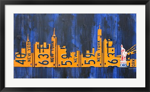 Framed NYC Extended Version License Plate Print
