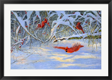 Framed Cardinals and Berries Print