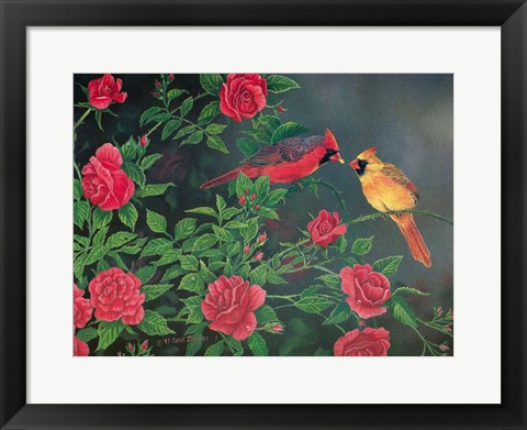 Framed Flowers and Candy Cardinals Print