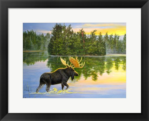 Framed Wilderness Lake Moose Print