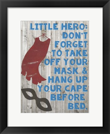 Framed Little Hero III Print