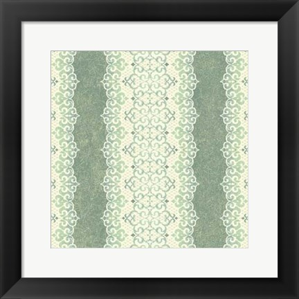 Framed Downton Stripe I Print
