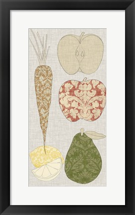 Framed Contour Fruits & Veggies VII Print