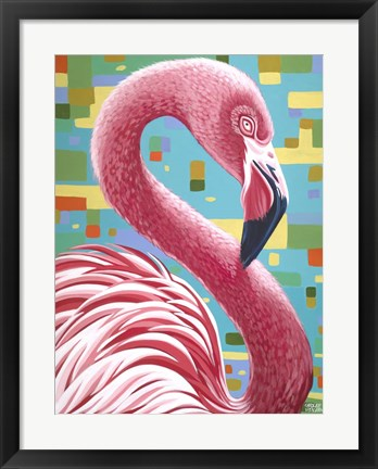 Framed Fabulous Flamingos I Print