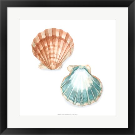 Framed Watercolor Shells I Print