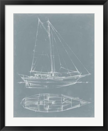 Framed Yacht Sketches III Print