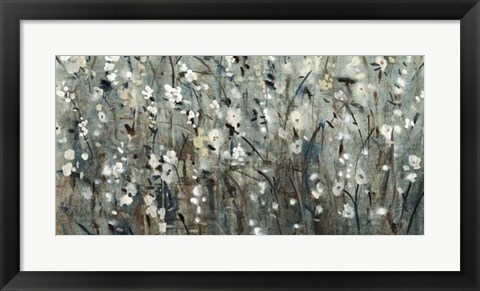Framed White Blooms with Navy II Print