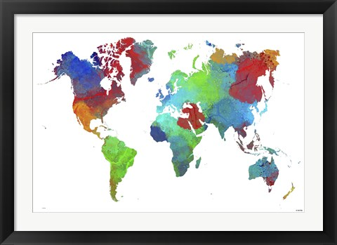 Framed World Map 16 Print