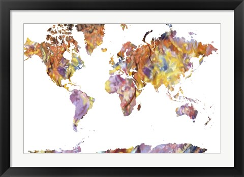 Framed World Map Rock 1 Print