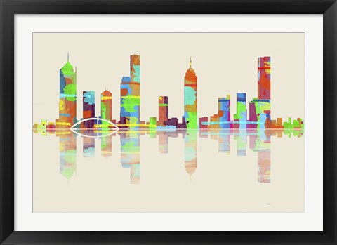 Framed Melbourne Vic Skyline 1 Print