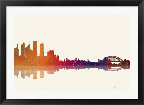 Framed Sydney NSW Skyline 2 Print