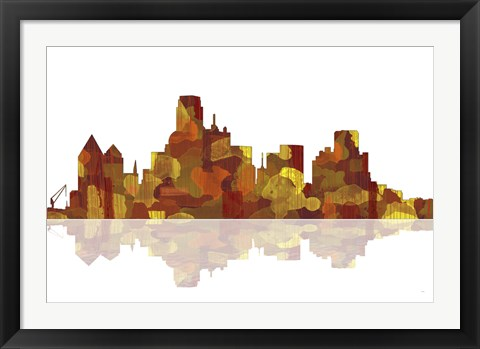 Framed Dallas Texas Skyline 1 Print