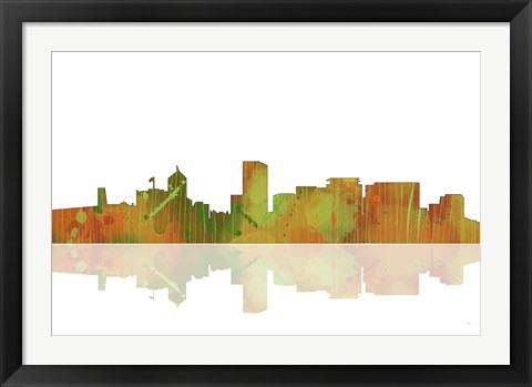 Framed Portland Oregan Skyline 1 Print