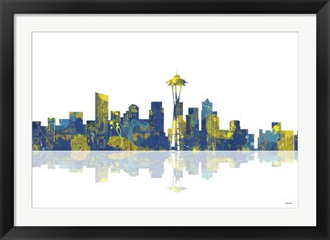 Framed Seattle Washington Skyline 1 Print