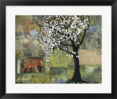 Framed Elephant Under A Tree Print