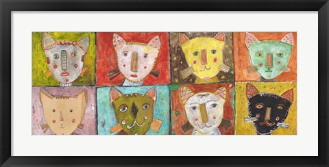 Framed 8 Cats Print