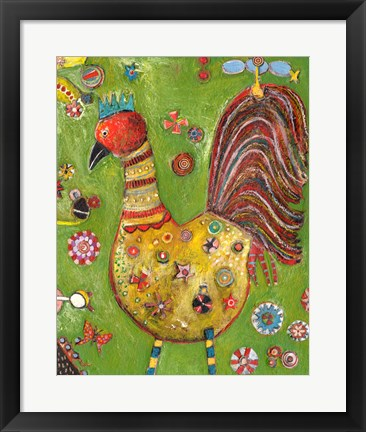 Framed Green Rooster Print