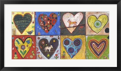 Framed Eight Flat Hearts Print