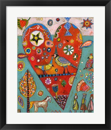 Framed Love Birds Heart Print