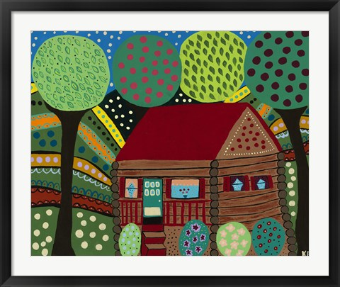 Framed House In The Hills Print